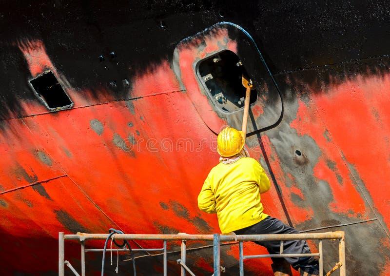 Travailleur de chantier naval photo libre de droits