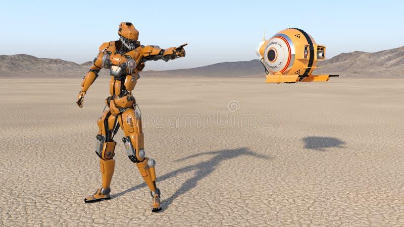 Travailleur de cyborg avec le bourdon de vol se dirigeant, robot de humanoïde avec des avions de surveillance explorant la planèt illustration stock