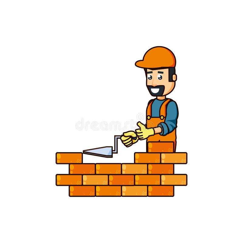 Travailleur de la construction avec la brique d'outil et de mur de spatule illustration libre de droits