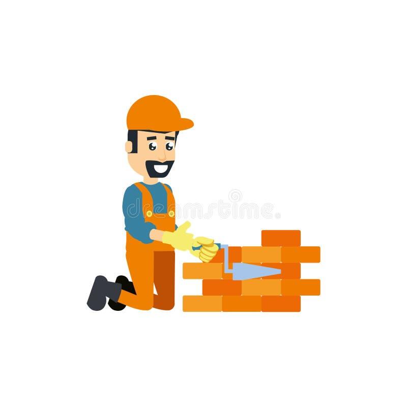 Travailleur de la construction avec la brique d'outil et de mur de spatule illustration de vecteur