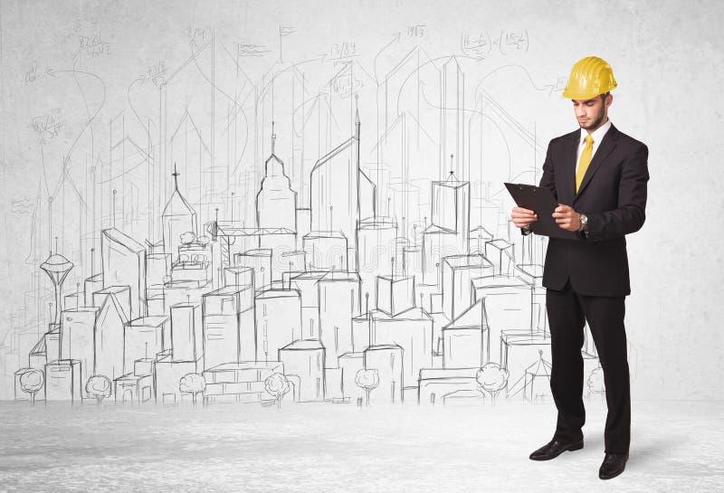 Travailleur de la construction avec le fond de paysage urbain photos stock