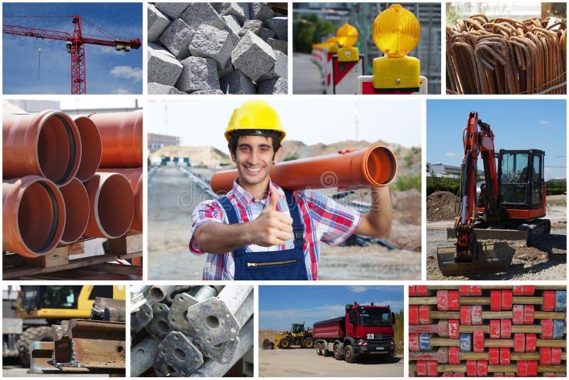 Travailleur de la construction avec le tuyau montrant le pouce avec la construction SI photo stock