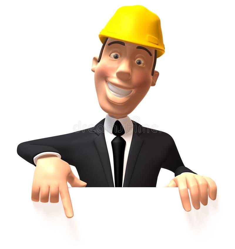 Travailleur de la construction avec un signe blanc illustration stock