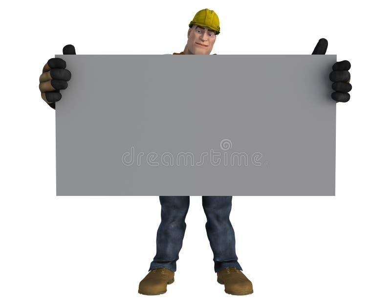 Travailleur de la construction de bande dessinée avec le conseil gris pâle vide illustration de vecteur