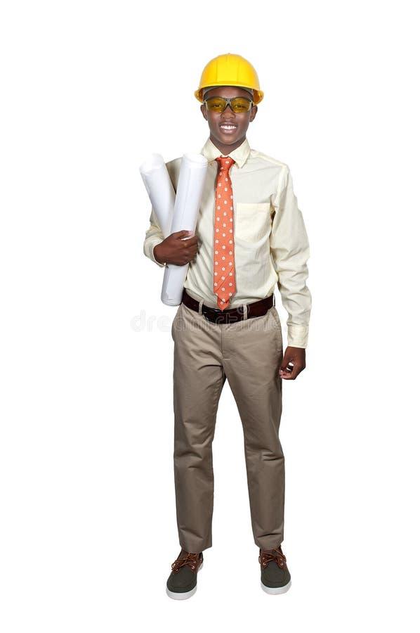 Travailleur de la construction d'adolescent noir photos stock