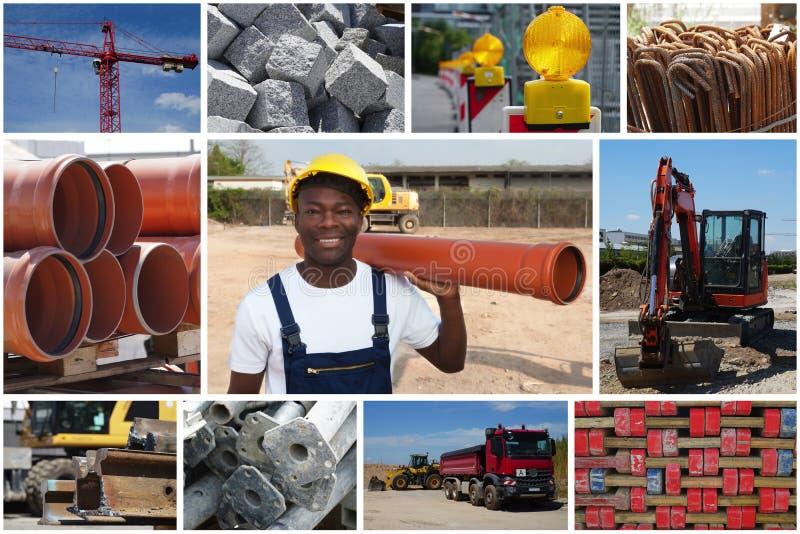 Travailleur de la construction d'afro-américain avec le tuyau et la construction photo libre de droits