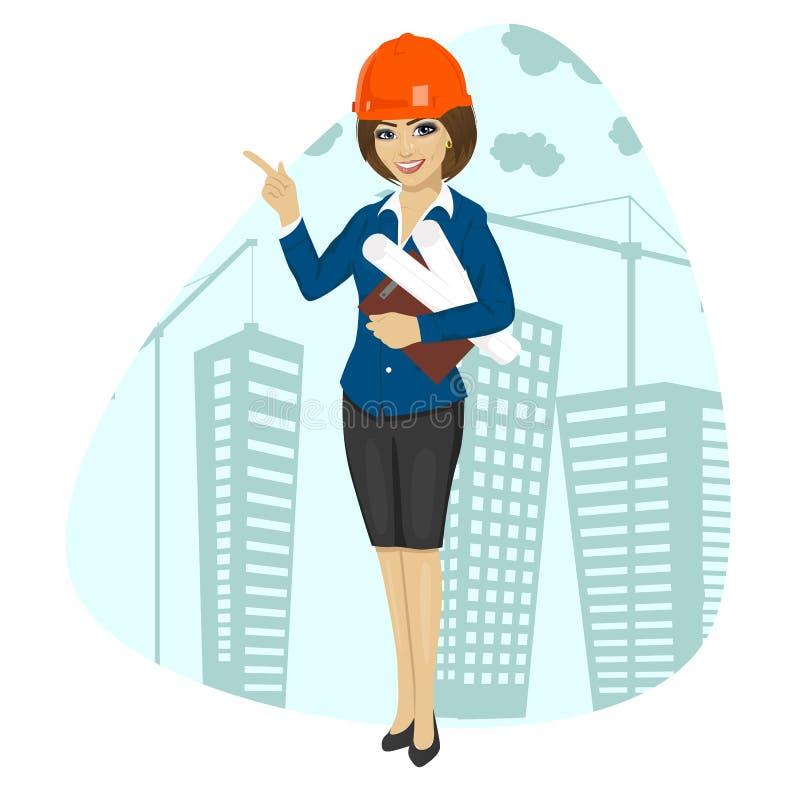 Travailleur de la construction de femme utilisant le casque antichoc tenant des modèles et le pointage de presse-papiers illustration stock