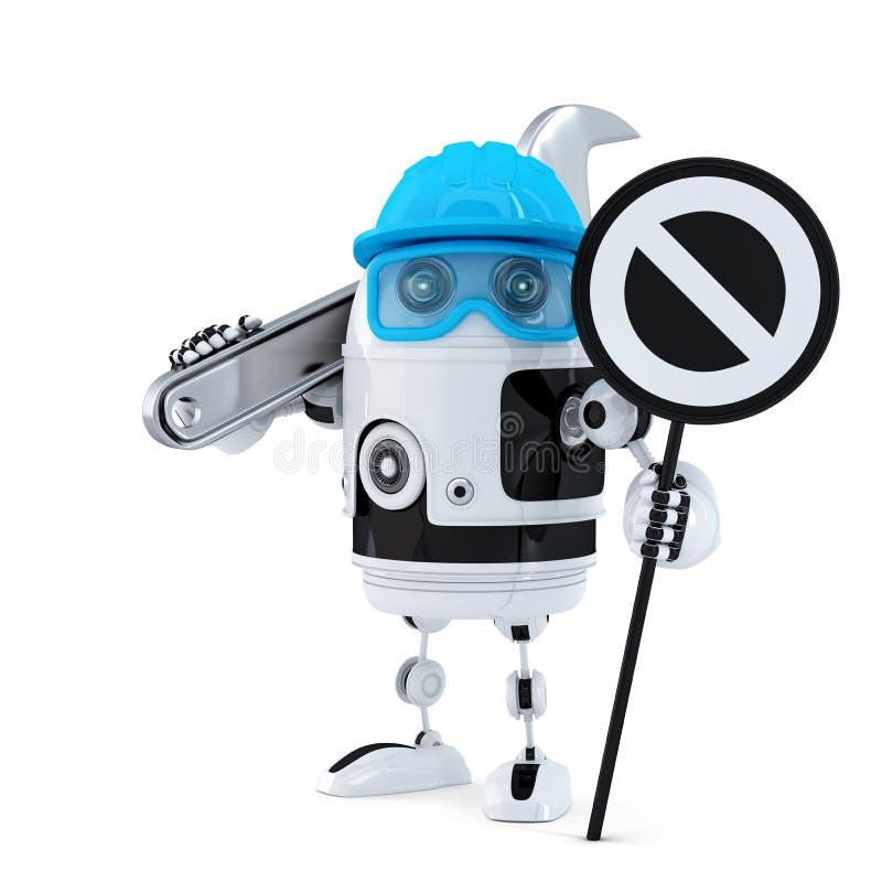 Travailleur de la construction de robot avec le signe de clé et d'arrêt illustration libre de droits