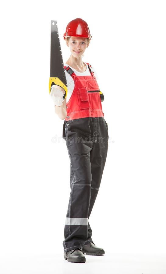 Travailleur de la construction de sourire dans l'uniforme images stock