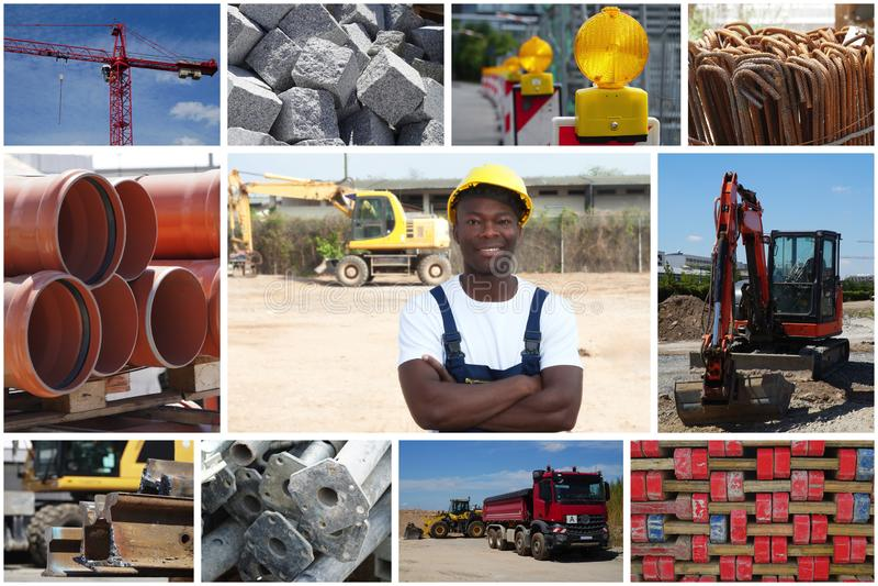 Travailleur de la construction debout d'afro-américain avec la construction photo libre de droits