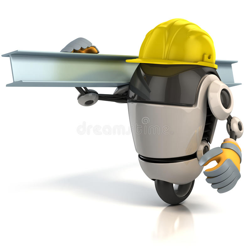 travailleur de la construction du robot 3d illustration stock