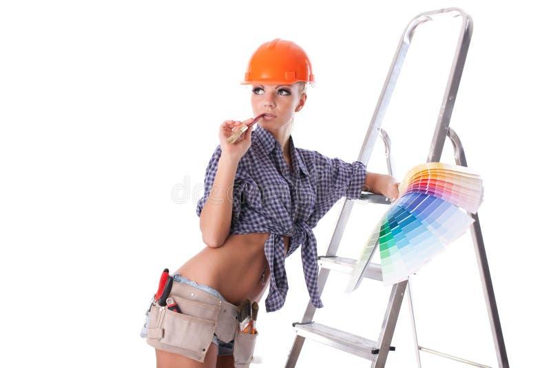 Travailleur de la construction féminin images stock