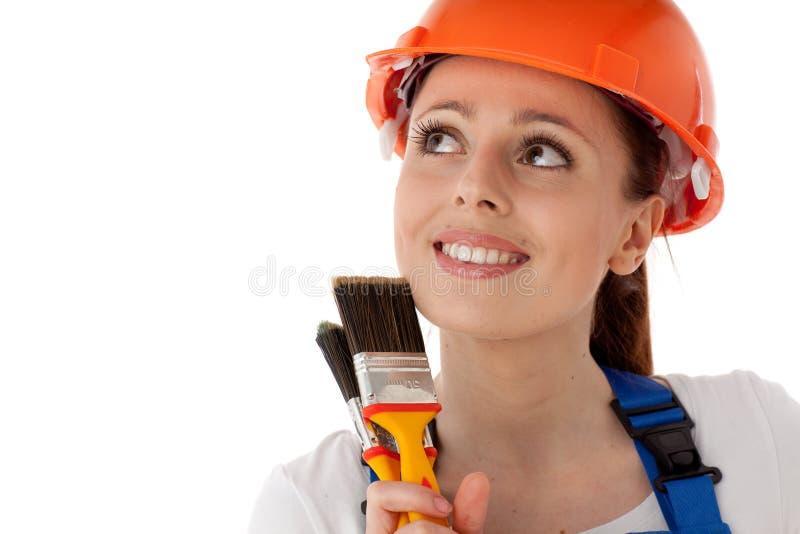 Travailleur de la construction féminin. photographie stock libre de droits