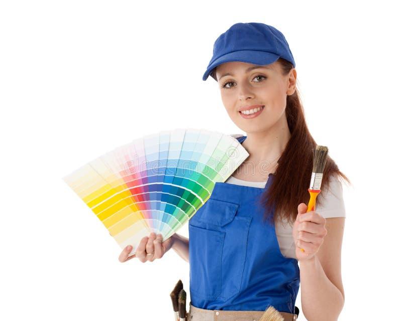 Travailleur de la construction féminin. image stock