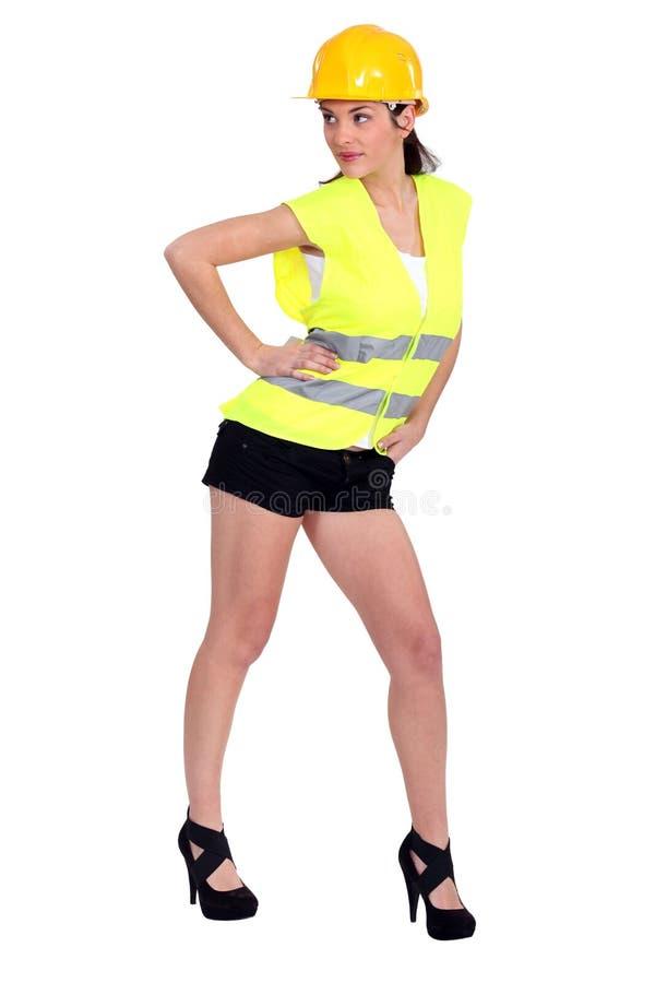 Travailleur de la construction féminin photos stock