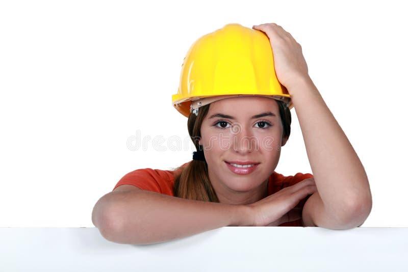 Travailleur de la construction féminin. images libres de droits