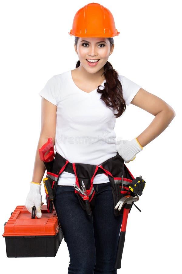 Travailleur de la construction féminin prêt à travailler photographie stock libre de droits