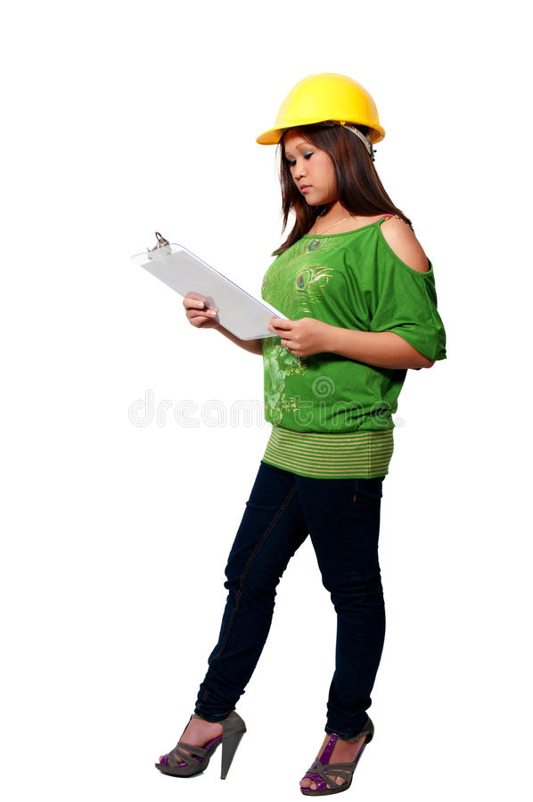 Travailleur de la construction hispanique de femme photo stock