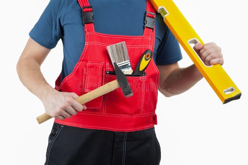 Travailleur de la construction méconnaissable dans l'uniforme images libres de droits