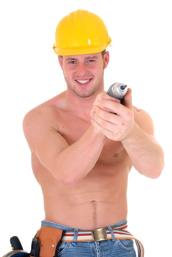 Travailleur de la construction macho image libre de droits