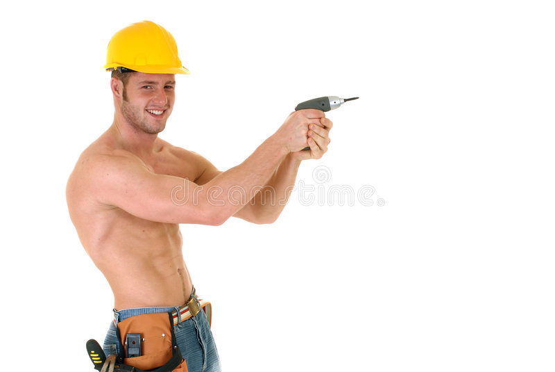 Travailleur de la construction macho photos stock