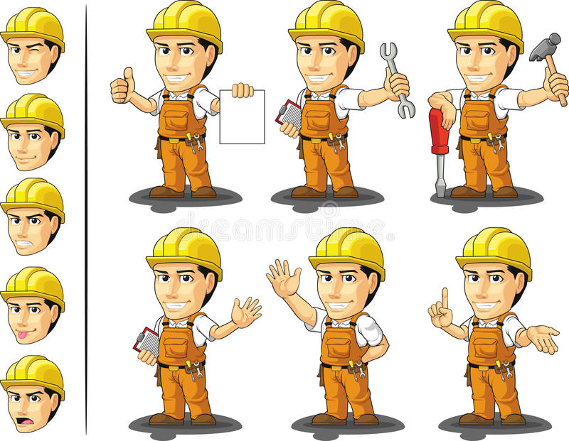 Travailleur de la construction Mascot 2 de Ndustrial illustration libre de droits