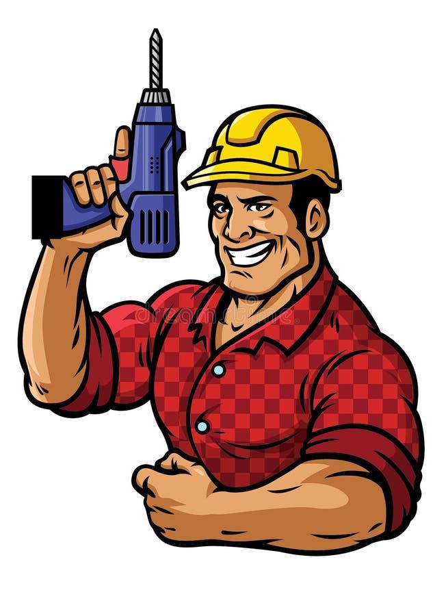 Travailleur de la construction musculaire avec le foret illustration de vecteur