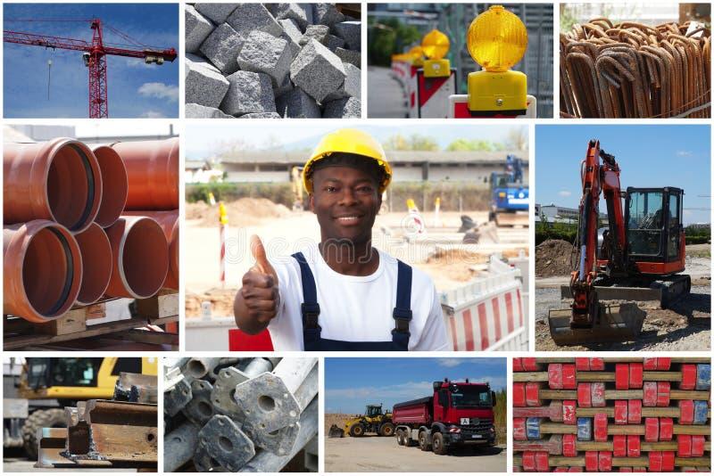 Travailleur de la construction optimiste d'afro-américain avec le constructio photos libres de droits