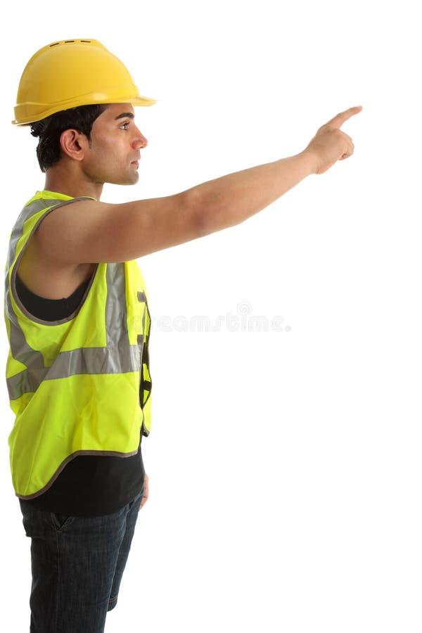 Travailleur de la construction ou constructeur dirigeant le doigt photos stock