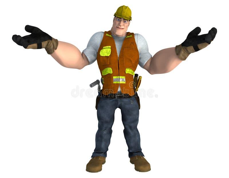 Travailleur de la construction de style de bande dessinée avec des bras tendus illustration stock