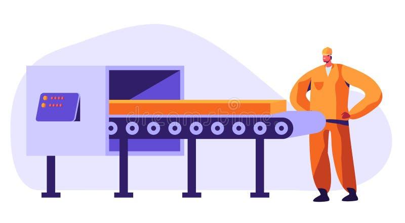 Travailleur de m?tallurgie observant sur l'acier de bande de conveyeur ou l'objet de transport de fer faisant le contr?le de qual illustration de vecteur
