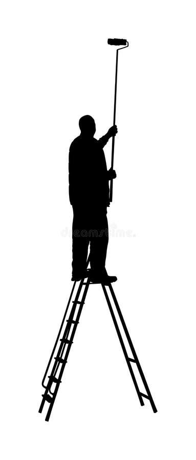 Travailleur de peintre sur la silhouette de vecteur d'échelle d'isolement sur le blanc Mur de peinture de décorateur d'homme avec illustration libre de droits