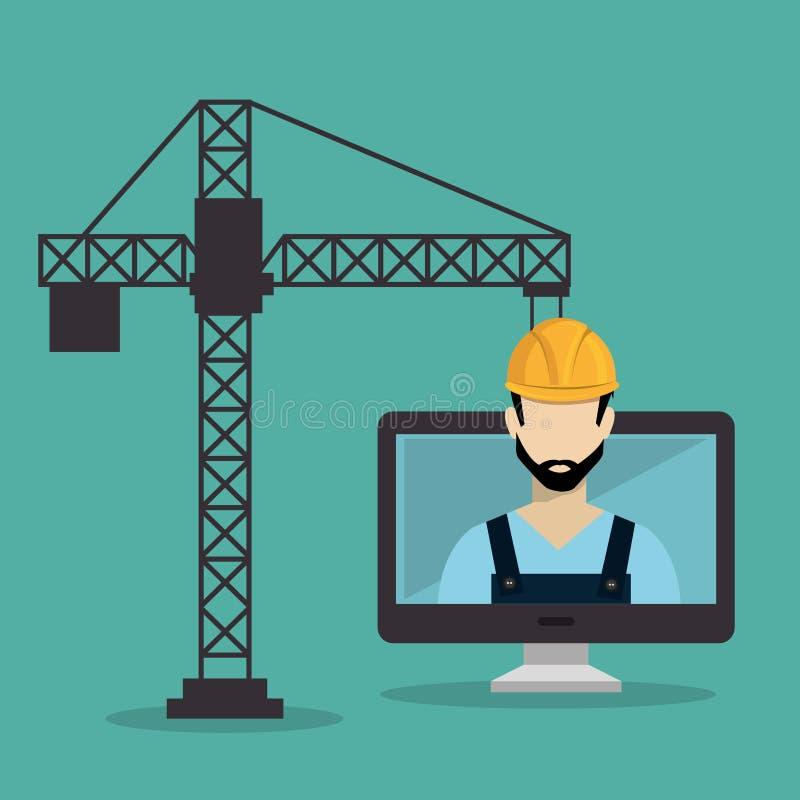 Travailleur en construction avec le bureau illustration stock