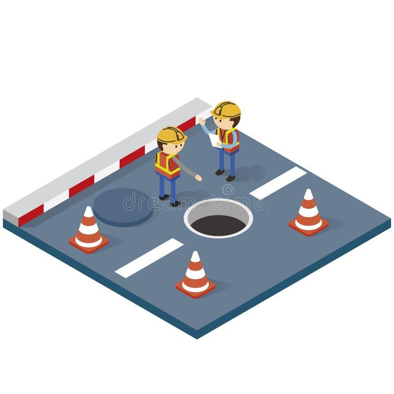 Travailleur et signe en construction illustration de vecteur