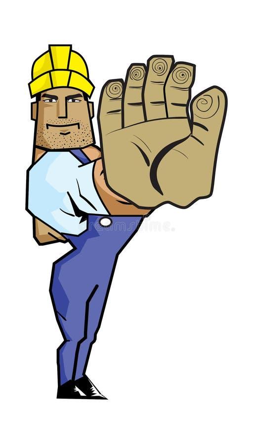 Travailleur fort faisant des gestes le signe de main d'arrêt. illustration libre de droits
