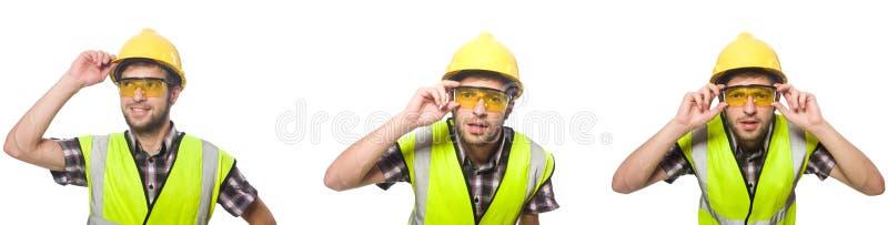 Travailleur industriel d'isolement sur le blanc photo stock
