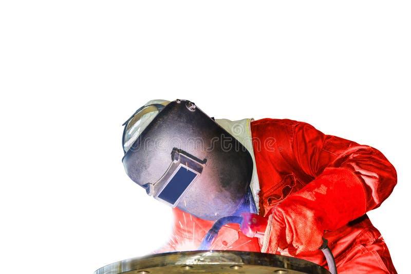 Travailleur industriel soudant dans l'usine d'isolement sur le fond blanc image stock