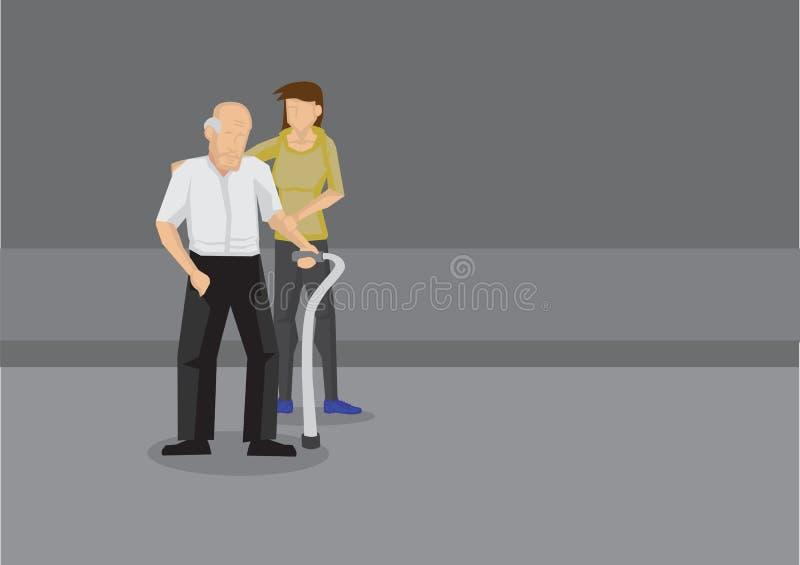 Travailleur social aidant le vieil homme à croiser le vecteur Illustra de bande dessinée de route illustration stock