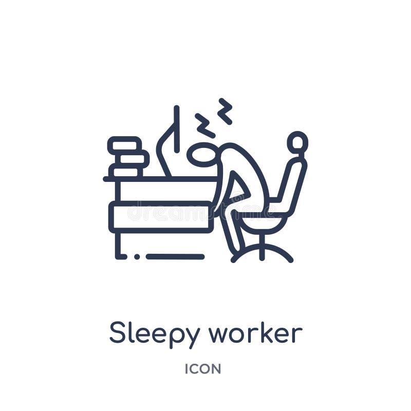 Travailleur somnolent linéaire à l'icône de travail de la collection d'ensemble d'affaires Ligne mince travailleur somnolent à l' illustration libre de droits