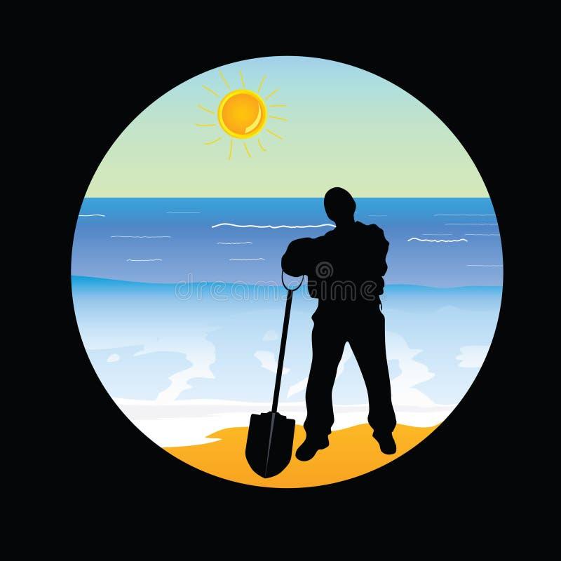 Travailleur sur la partie deux d'illustration de vecteur de paradis de plage illustration stock