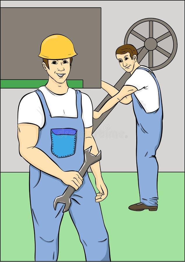 Travailleurs dans des combinaisons bleues illustration de vecteur