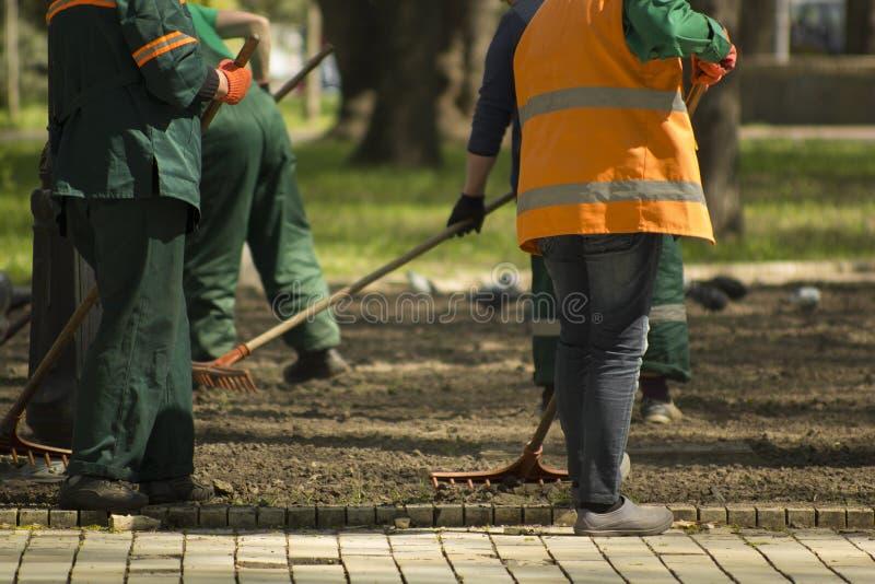 Travailleurs de jardinage de service préparant la terre en parc avec des outils de jardin photo libre de droits