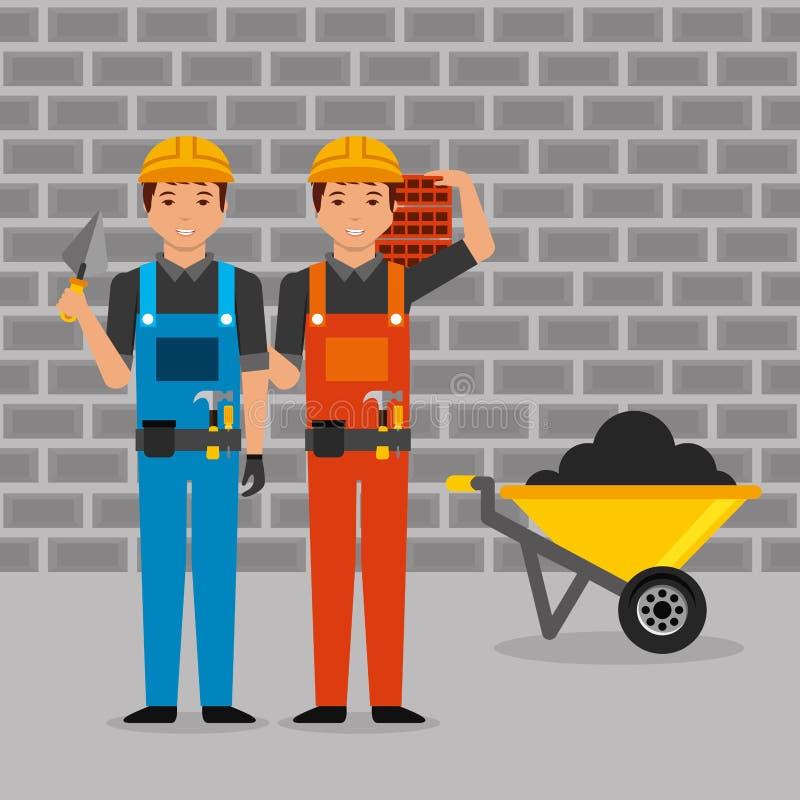 Travailleurs de la construction avec la brouette de briques de spatule de combinaisons de casque illustration stock