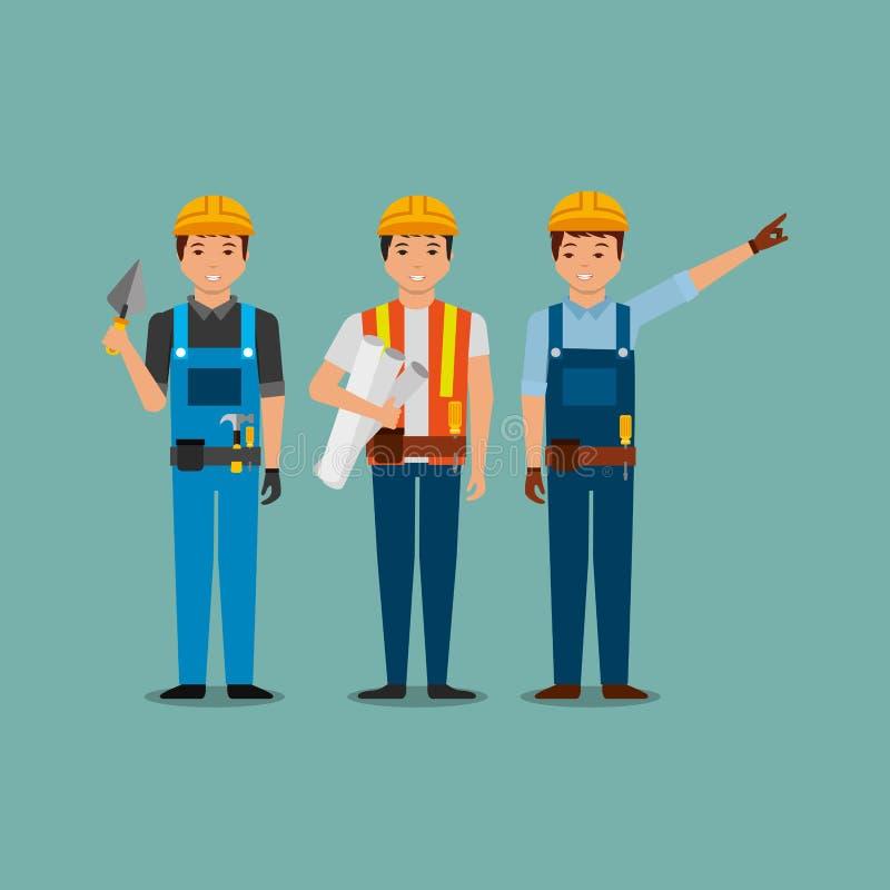 Travailleurs de la construction tenant la spatule de modèle avec des uniformes illustration libre de droits