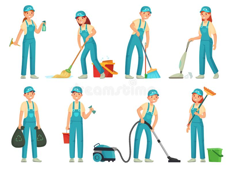 Travailleurs de nettoyage Personnel de nettoyage professionnel, travailleur plus propre domestique et matériel de décapants Vecte illustration de vecteur