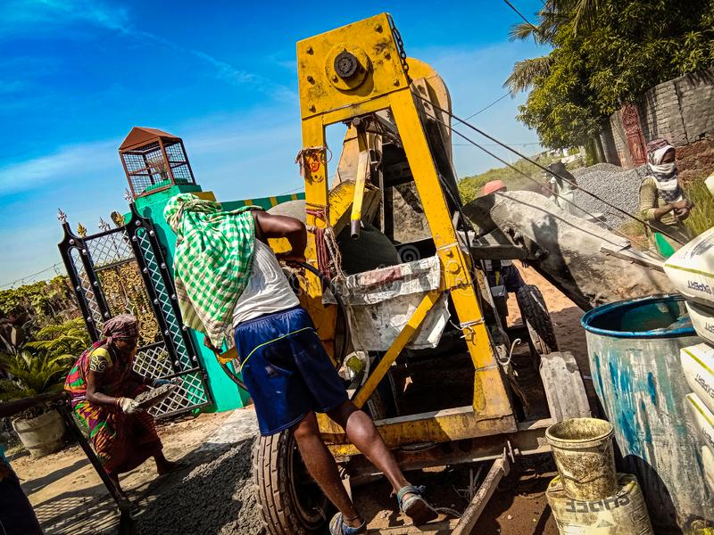 Travailleurs indiens au chantier de construction photo libre de droits