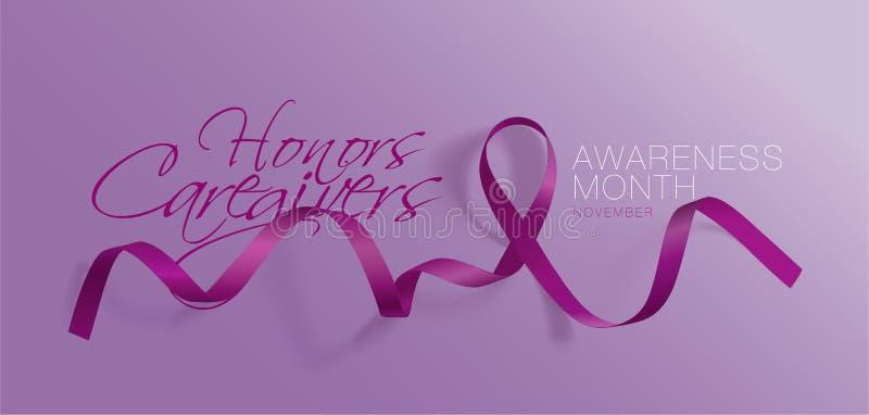 Travailleurs sociaux d'honneurs Mois national de travailleurs sociaux de famille Conception d'affiche de calligraphie Plum Ribbon illustration de vecteur