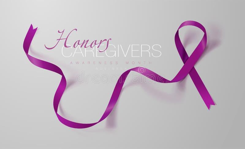 Travailleurs sociaux d'honneurs Mois national de travailleurs sociaux de famille Conception d'affiche de calligraphie Plum Ribbon illustration stock