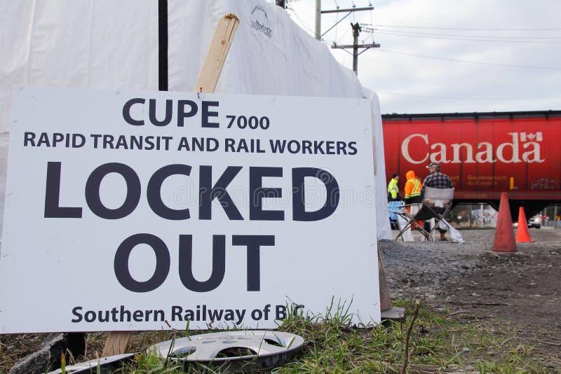 Travailleurs syndiqués des gens du pays 7000 de CUPE verrouillés  image libre de droits