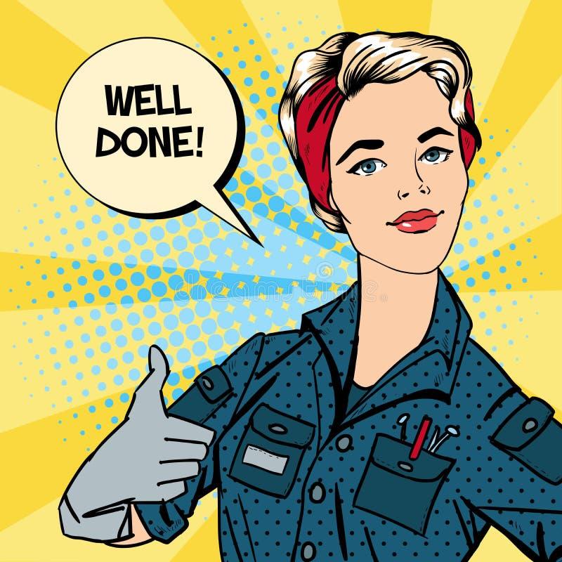 Travailleuse active Faire des gestes de femme grand Réparatrice de femme illustration de vecteur